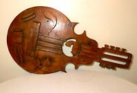 HUGE 3.5 foot antique hand carved wood Folk Art guitar music bar wall trade sign