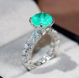 1CT NATURAL GLOWING COLOMBIAN EMERALD PROMISE ENGAGEMENT DIAMOND RING BAND