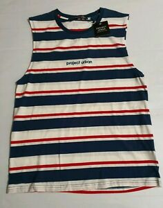 Men's Project Urban Byron Muscle White Blue Red Striped Tank Top Singlet Size M