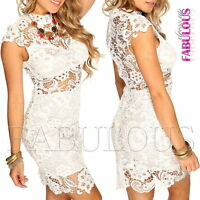 New Sexy Floral Crochet Lace Mini Dress Party Evening Clubbing 2 4 6 8 10 XS S M