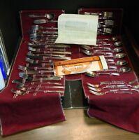 (47) Pc. International Silver Rogers Silverplate 654/50 Tuckaway Flatware Set Ex