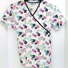 SB Scrubs Small White Tie Back Multi Color Flowers Scrub Top Nurse Veterinary