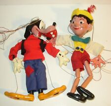 2 Vtg 1960's GOOFY & Pinocchio DISNEY Toy Marionette Pelham Puppets England Made