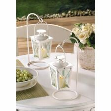 Romantic White Lanterns Hanging on Stands Lot of 4