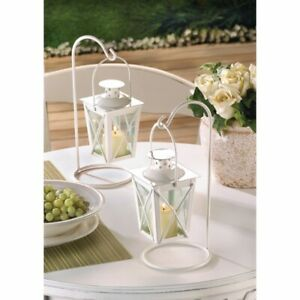 6 Romantic White Lanterns Hanging on Stands