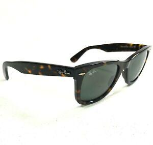 Ray-Ban Sunglasses Wayfarer RB2140 902 Brown Tortoise Square w/ Green Lenses 145