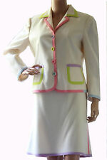 MOSCHINO Cheap & Chic 100% Wool Ivory Pastel Color Accents Skirt Suit Size 12