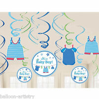 12 Blue Boy's New Baby Shower With Love Party Hanging Cutout Swirls Decorations
