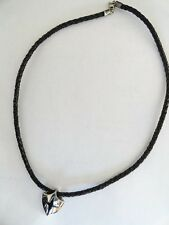 Shield Pendant on black braided leather cord by Shields of Strength-Joshua 1:9