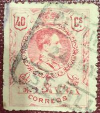 Sello Alfonso XIII 1909 Edifil  276 40c. Matasellos Sevilla