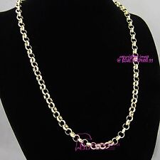Real Solid Womens Girls 18k Rose Gold GF Necklace Belcher Chain Bolt Rings Clasp