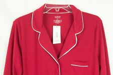 Alfani Red Notch Collar Knit Women's Pajama Top With Satin Trim Size M