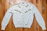 Vintage 1950's beaded bow cream 100% wool cardigan sweater L/XL