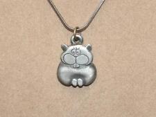 "VTG Norsk Tinn Pewter Cartoon Kitty Cat Pendant 16"" Serpentine Chain Necklace"