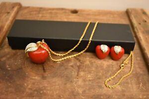 1990 vintage kenneth jay lane red enamel rhinestone apple necklace & earrings