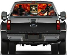 US Army American Soldiers  Burning Flag  Rear Window Graphic Decal  Truck Van