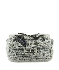 Chanel Boucle Garden Party 2.55 White Tweed Flap Shoulder Bag