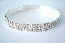 3 Row Stretchy Clear Diamante Ankle Bracelet Rhinestone Anklet *Pls Check Size
