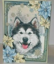 Handmade Greeting Card 3D Christmas With A Husky Dog