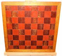 Old English Chess / Checkers Game Board Hand Made Wood Inlay Oak & Mahogany