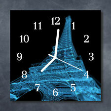 Glass Wall Clock Kitchen Clocks 30x30 cm silent Eiffel Tower Paris Blue Black
