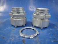 "Set of (2) 1 1/2"" Liquidtight Flexible Metal Conduit Connector Fittings"
