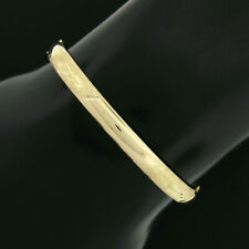 """14K Yellow Gold Domed w/ Hand Etched Work Hinged Open 5.5"""" Baby Bangle Bracelet"""