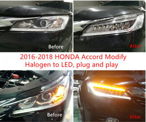 Car Headlight Modify Halogen to LED Wire Harness For 2016 2017 2018 HONDA ACCORD