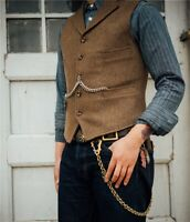 Men's Fashion Suit Vests Wool Herringbone Tweed Waistcoat Notch Lapel Groomsman