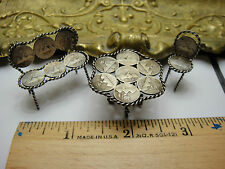 Antique Handmade 925/900 Silver Mini Seating Ensemble 1/4 Re-Al Silver Coins