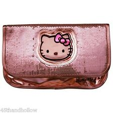 Hello Kitty Clutch Purse Metallic Pink Sequin Bag Vegan Friendly Sanrio Handbag