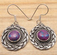 925 Silver Plated Everyday Wear Earrings GIFT ! PURPLE COPPER TURQUOISE Gems NEW