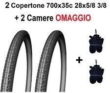 2 Copertoni Bici 28 CityBike Trekking Passeggio 700x35c + Camere Nero Pneumatico