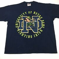 Vintage Notre Dame Fighting Irish Shirt 2XL Navy Blue Football