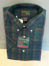 New Nwt Vtg Brittany Bay Men's Plaid Patterned Button Down Collared Shirt Sz Lg