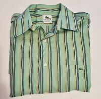 LACOSTE Men's  Green/Navy/Orange Striped L/S Button Down Shirt Sz 44 (XL) 19-14