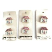 New Vintage JHB International House Home Buttons 3 Cards of 2 lot 6 Buttons Pink