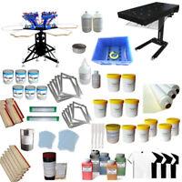 6 Color 6 Station Screen Printing Kit Silk Screen Press Hobby Ink & Flash Dryer