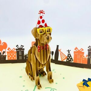 3D Pop Up Greeting Cards Dog Lover Thankyou Valentine's Gift Dog Birthday Party