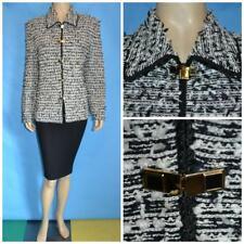 St John Collection Knit Black Cream Jacket XL L 14 16 Suit Blazer Eyelash Button