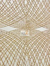 UNIQUE DIAMOND LACE SEQUIN DRESS FABRIC - Ivory/Gold - BY YARD CELEBRITY PROM