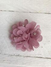 Dusky Pink Hair Clip Chiffon Diamanté Flower Girl Bridesmaid Wedding Prom Races