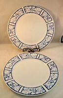 Oneida Dinnerware Breton Blue Dinner Plate Set Of 2 Plates Stoneware Vintage Two
