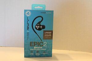 JLab Epic2 / Epic 2 / Bluetooth 4.0 Wireless Sport Earbuds w/ Mic - BLACK - NEW!