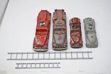 Lot of 4 Vintage Hubley Fire Trucks 468 & 463 Diecast Metal Toy Cars Ladders