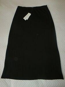 NWT EILEEN FISHER BLACK WASHABLE WOOL JERSEY LONG ELASTIC WAIST SKIRT LARGE