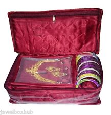 Maroon BIG Necklace Earring Half Set 5 Pouch 1 Bangles Roll Storage Jewelry bags