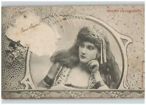 Good Kisses Boudoir Woman in Mirror French Undivided Back Postcard 1904