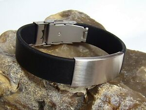 Mens Black Bracelet Stainless Steel with silicone 15mm 8inch