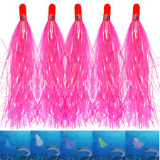 18pcs Jig Head Fishing Lures Mylar Flash Teaser Tail Baits Fluke Skirted Hair